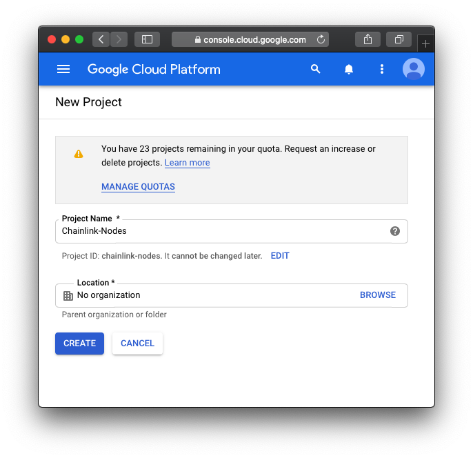 Create new project form